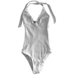 Heidi Klein halter neck one piece white swim wear