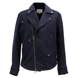 Pierre Balmain Navy Wool Biker Jacket