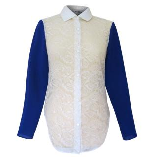 Carven Lace and Silk Blouse