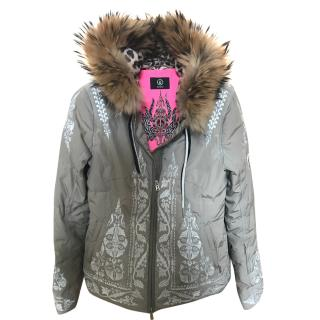Bogner ski down jacket with white detail and leopard print hood