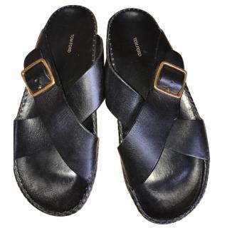 Tom Ford men's black leather sandals
