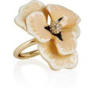 22-karat gold-plated crystal and flower resin ring