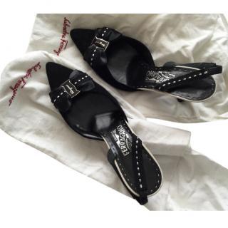 Ferragamo Black slingback sandals