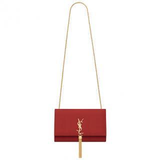 Saint Laurent medium monogram tassel satchel in lipstick red