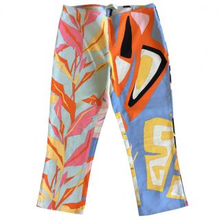 Emilio Pucci multicolor printed cotton stretch capri trousers