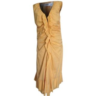 Prada light orange draped mid length dress