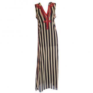 Gaultier soleil striped hooded maxi tunic caftan