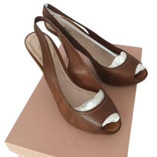 Miu Miu tan leather sandals