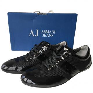Armani Men's Black Patent City Trainers