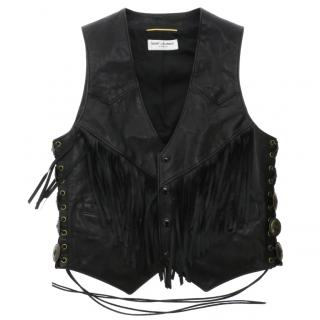 Saint Laurent calf leather vest with fringe