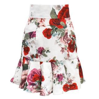 Bambah White Floral Ruffle Skirt