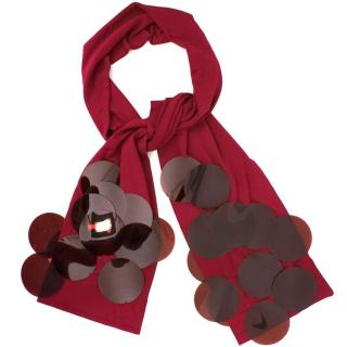 Burberry Cherry Red Slim Evening Scarf With Perspex Discs