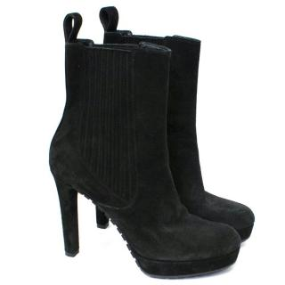 Gucci Black Suede Heeled Ankle Boots