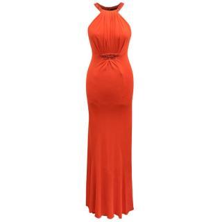 Roberto Cavalli Orange Bead Detail Gown