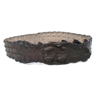 Roberto Cavalli Dark Brown Crocodile Belt