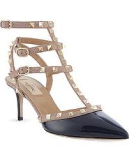 Valentino Rockstud Navy blue patent 65 t bar heels