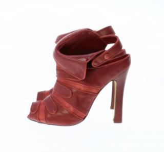 Manolo Blahnik red opne toe shoe boots