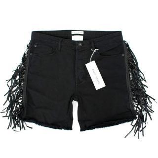 Each X Other Black Denim Tassel Shorts