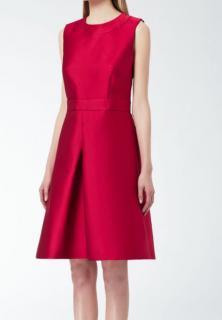 MaxMara pink cerise a-line silk-satin dress