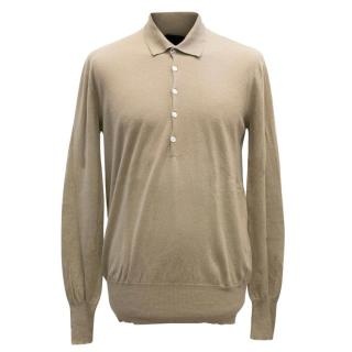 Burberry Prorsum Men's Beige Quarter Button Shirt