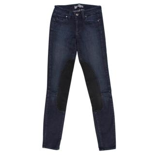 Paige Dark Navy Jeans With Black Patches