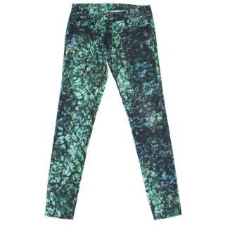 Sandro Green Pattern Skinny Jeans