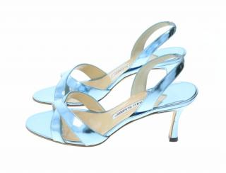 Manolo Blahnik Metallic Blue Sandals