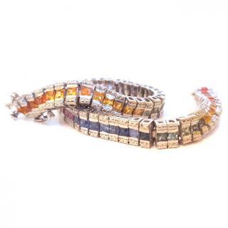 Rainbow Sapphire Tennis Bracelet Sterling Silver 6ct