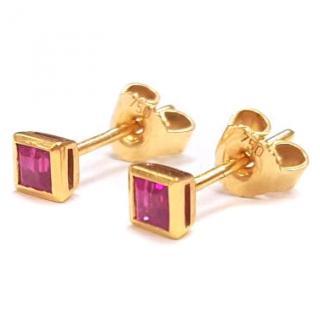 Princess Ruby Stud Earrings 18ct Gold