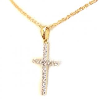 Vintage Diamond Cross Pendant 18ct Gold