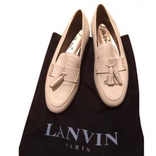 New Lanvin White Tassel Loafers