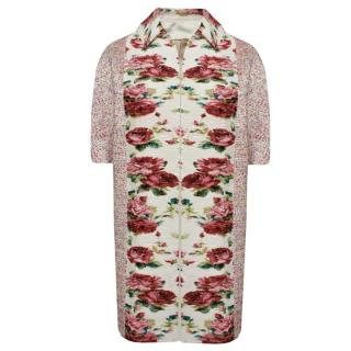 Antonio Marras Cocoon Coat With Floral Plisse Front