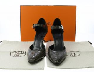 Hermes green grey crocodile shoes