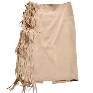 Brunello Cucinelli silk fringed skirt