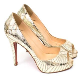 Christian Louboutin Gold Patent Leather Peep Toe Heels