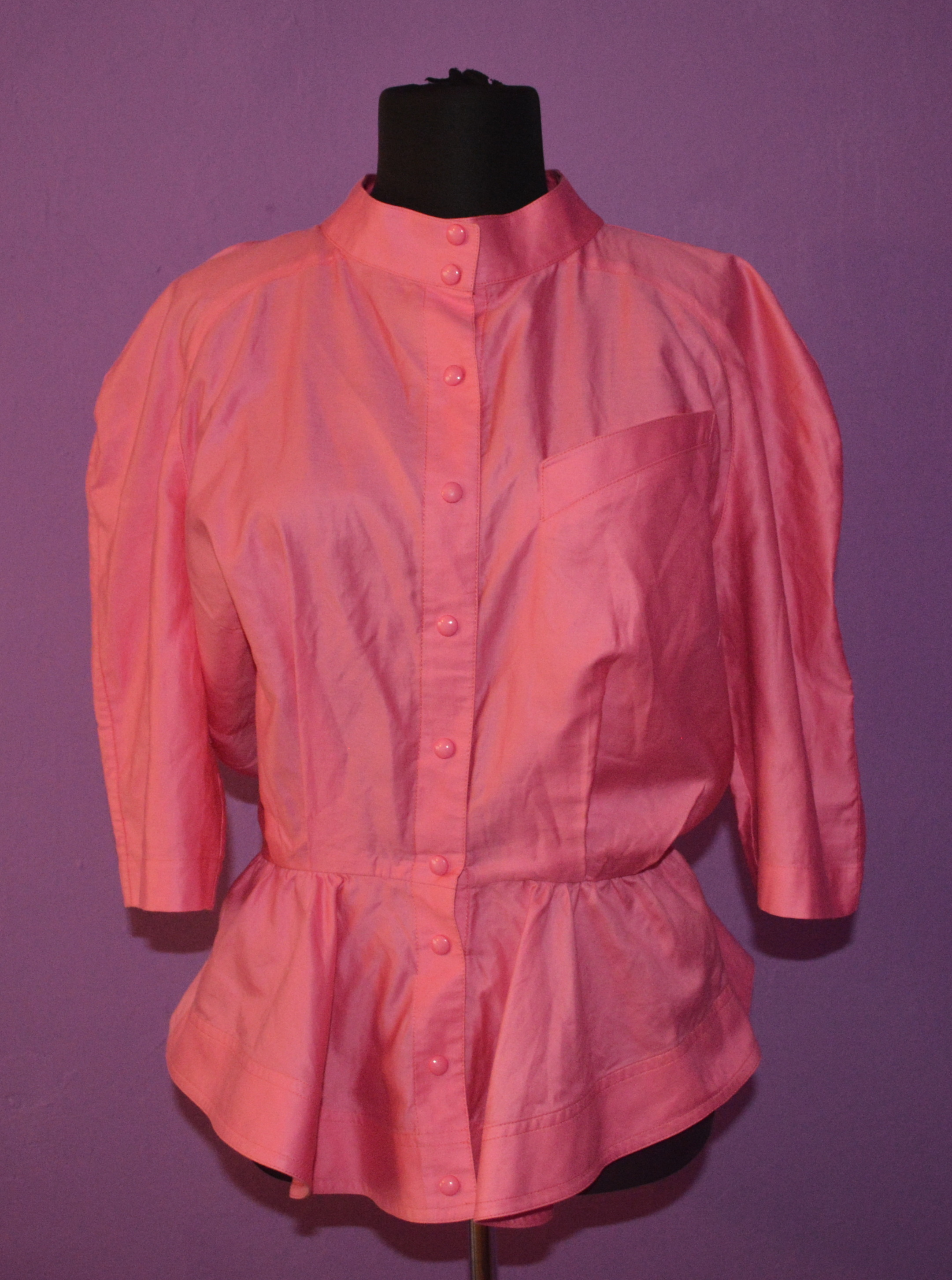 THIERRY MUGLER vintage womens vibrant pink blouse jacket sz M