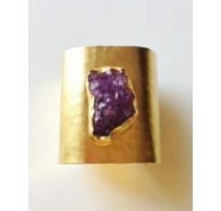 Gold Plated and Amethyst Druzy Cuff new