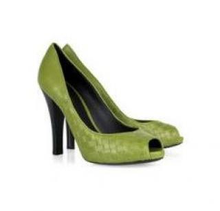 BOTTEGA VENETA Intrecciato leather peep-toe pumps