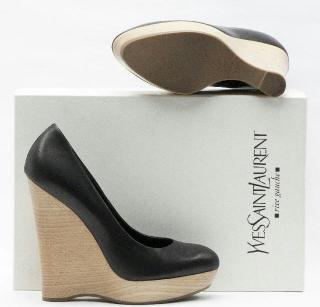 Yves Saint Laurent Black Leather Wooden Heel Wedge Shoes Size UK4