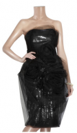 Marchesa Black Organza Evening Dress