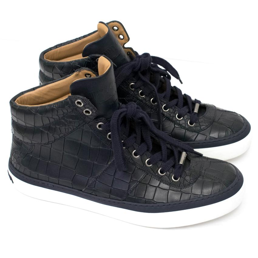 Jimmy Choo Navy Blue Croc Embossed Trainers
