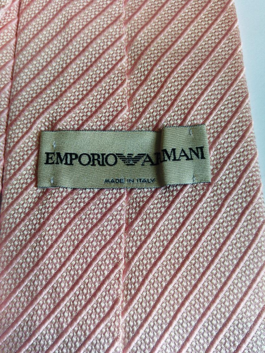 Emporio Armani Plain Pink Repp Style Stripe Silk Tie