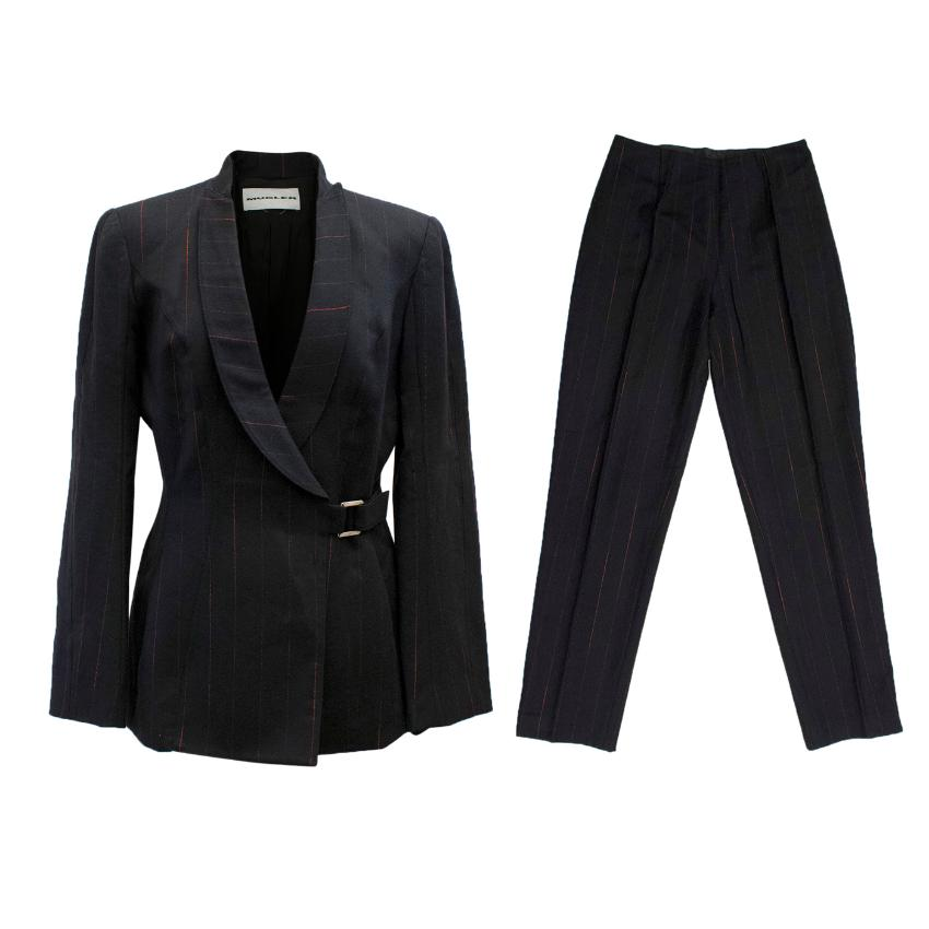 Mugler Black Wool with Red Pinstripe Suit Set