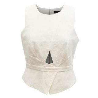 BCBG Max Azria White Sleeveless Top
