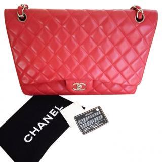 Chanel red Maxi lambskin single flap