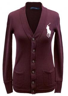 Ralph Lauren Burgundy Wool Cardigan