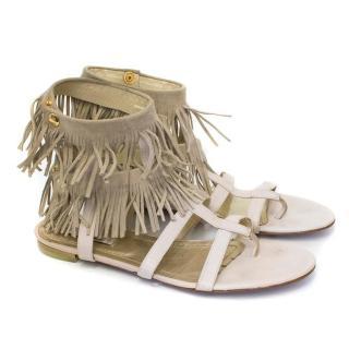 Malene Birger Cream Tassel Sandals