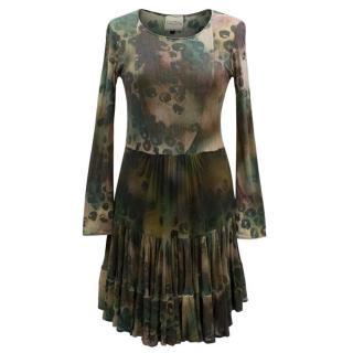 Saloni Long Sleeved Leopard Print Dress
