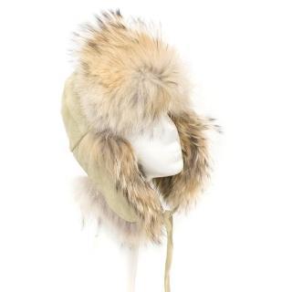 Charles Muller Beige Fur Trapper Cap