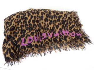Louis Vuitton Brown Cashmere/Silk Leopard Stole